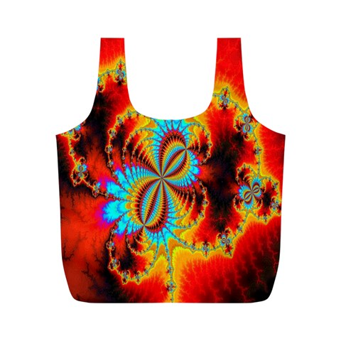 Crazy Mandelbrot Fractal Red Yellow Turquoise Full Print Recycle Bags (M)