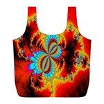 Crazy Mandelbrot Fractal Red Yellow Turquoise Full Print Recycle Bags (L)  Front