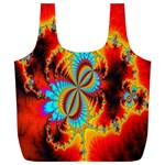 Crazy Mandelbrot Fractal Red Yellow Turquoise Full Print Recycle Bags (L)  Back
