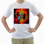 Crazy Mandelbrot Fractal Red Yellow Turquoise Men s T-Shirt (White)  Front
