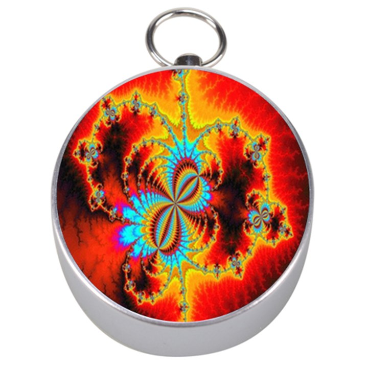 Crazy Mandelbrot Fractal Red Yellow Turquoise Silver Compasses