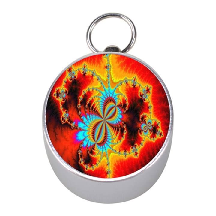 Crazy Mandelbrot Fractal Red Yellow Turquoise Mini Silver Compasses