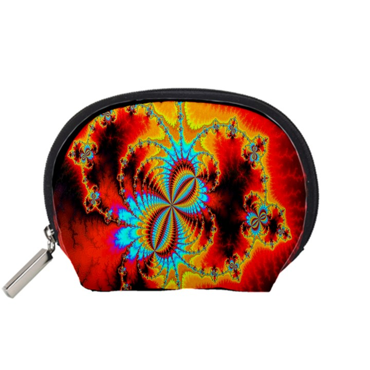 Crazy Mandelbrot Fractal Red Yellow Turquoise Accessory Pouches (Small)