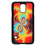 Crazy Mandelbrot Fractal Red Yellow Turquoise Samsung Galaxy S5 Case (Black) Front
