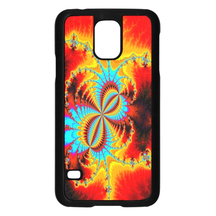 Crazy Mandelbrot Fractal Red Yellow Turquoise Samsung Galaxy S5 Case (Black)