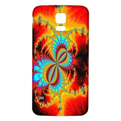 Crazy Mandelbrot Fractal Red Yellow Turquoise Samsung Galaxy S5 Back Case (White)