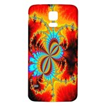 Crazy Mandelbrot Fractal Red Yellow Turquoise Samsung Galaxy S5 Back Case (White) Front