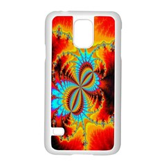 Crazy Mandelbrot Fractal Red Yellow Turquoise Samsung Galaxy S5 Case (White)