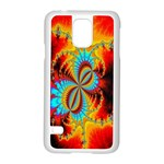 Crazy Mandelbrot Fractal Red Yellow Turquoise Samsung Galaxy S5 Case (White) Front