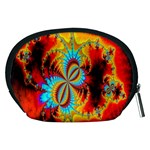 Crazy Mandelbrot Fractal Red Yellow Turquoise Accessory Pouches (Medium)  Back