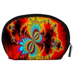 Crazy Mandelbrot Fractal Red Yellow Turquoise Accessory Pouches (Large)  Back