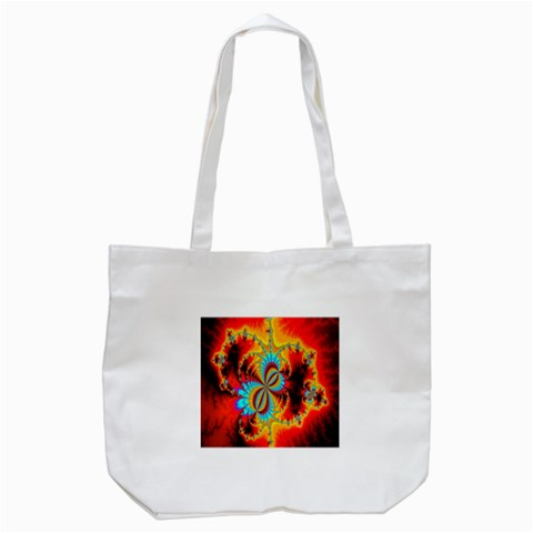 Crazy Mandelbrot Fractal Red Yellow Turquoise Tote Bag (White)