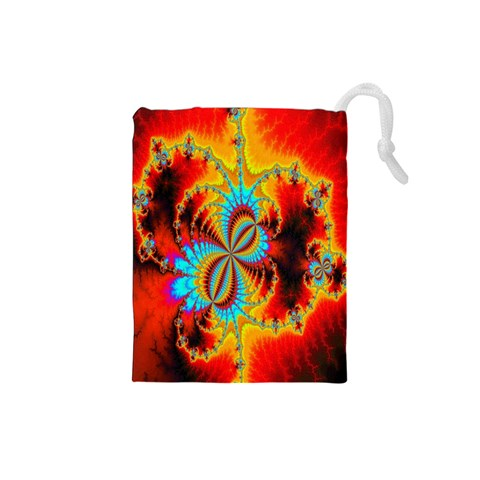 Crazy Mandelbrot Fractal Red Yellow Turquoise Drawstring Pouches (Small)