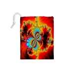 Crazy Mandelbrot Fractal Red Yellow Turquoise Drawstring Pouches (Small)  Back