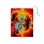 Crazy Mandelbrot Fractal Red Yellow Turquoise Drawstring Pouches (Medium)  Front