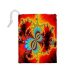 Crazy Mandelbrot Fractal Red Yellow Turquoise Drawstring Pouches (Medium)  Back