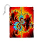 Crazy Mandelbrot Fractal Red Yellow Turquoise Drawstring Pouches (Large)  Back