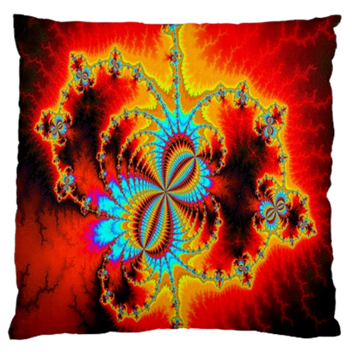 Crazy Mandelbrot Fractal Red Yellow Turquoise Standard Flano Cushion Case (One Side)