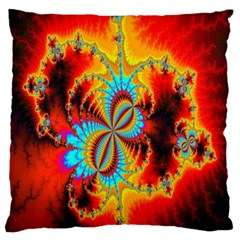 Crazy Mandelbrot Fractal Red Yellow Turquoise Large Flano Cushion Case (two Sides)