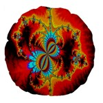 Crazy Mandelbrot Fractal Red Yellow Turquoise Large 18  Premium Flano Round Cushions Back