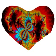 Crazy Mandelbrot Fractal Red Yellow Turquoise Large 19  Premium Flano Heart Shape Cushions