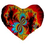 Crazy Mandelbrot Fractal Red Yellow Turquoise Large 19  Premium Flano Heart Shape Cushions Front