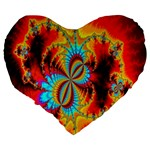 Crazy Mandelbrot Fractal Red Yellow Turquoise Large 19  Premium Flano Heart Shape Cushions Back