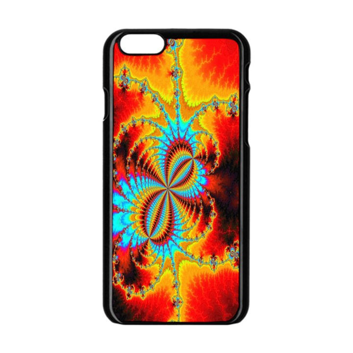 Crazy Mandelbrot Fractal Red Yellow Turquoise Apple iPhone 6/6S Black Enamel Case