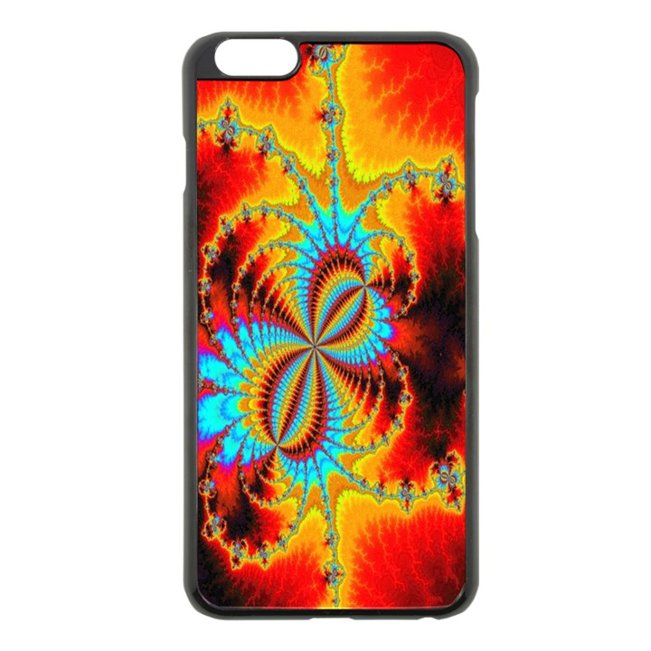 Crazy Mandelbrot Fractal Red Yellow Turquoise Apple iPhone 6 Plus/6S Plus Black Enamel Case