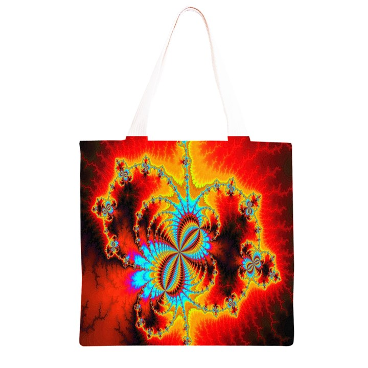 Crazy Mandelbrot Fractal Red Yellow Turquoise Grocery Light Tote Bag