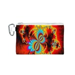 Crazy Mandelbrot Fractal Red Yellow Turquoise Canvas Cosmetic Bag (S) Front