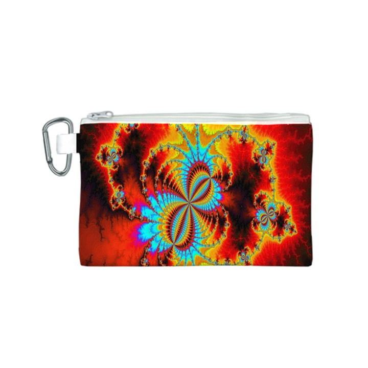 Crazy Mandelbrot Fractal Red Yellow Turquoise Canvas Cosmetic Bag (S)