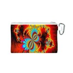 Crazy Mandelbrot Fractal Red Yellow Turquoise Canvas Cosmetic Bag (S) Back