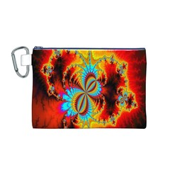 Crazy Mandelbrot Fractal Red Yellow Turquoise Canvas Cosmetic Bag (m)