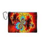 Crazy Mandelbrot Fractal Red Yellow Turquoise Canvas Cosmetic Bag (M) Front