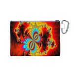 Crazy Mandelbrot Fractal Red Yellow Turquoise Canvas Cosmetic Bag (M) Back