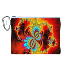 Crazy Mandelbrot Fractal Red Yellow Turquoise Canvas Cosmetic Bag (L)