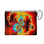Crazy Mandelbrot Fractal Red Yellow Turquoise Canvas Cosmetic Bag (L) Back