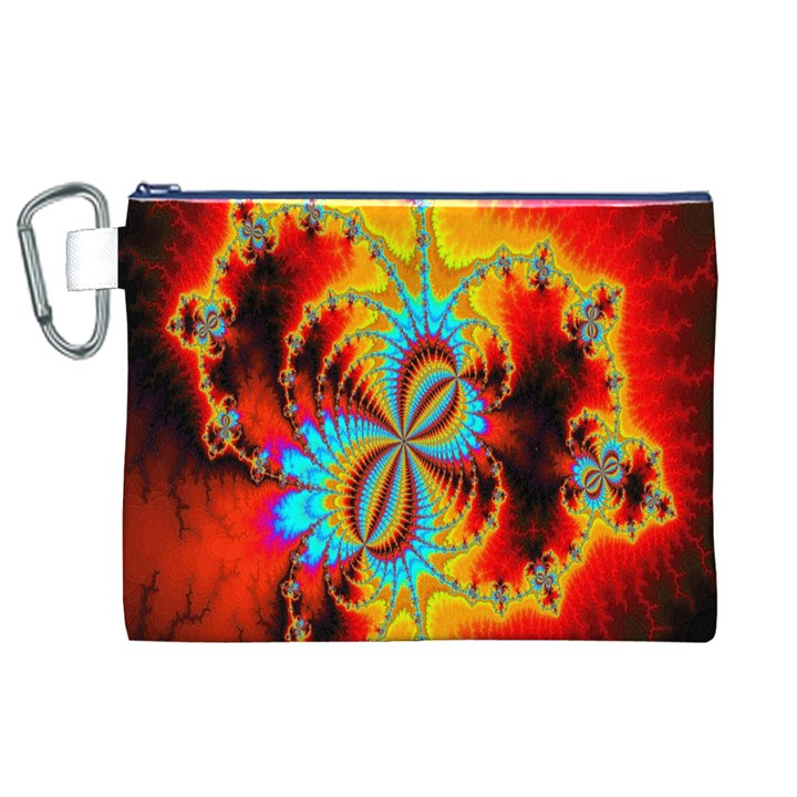 Crazy Mandelbrot Fractal Red Yellow Turquoise Canvas Cosmetic Bag (XL)