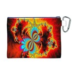Crazy Mandelbrot Fractal Red Yellow Turquoise Canvas Cosmetic Bag (XL) Back