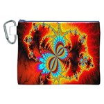 Crazy Mandelbrot Fractal Red Yellow Turquoise Canvas Cosmetic Bag (XXL) Front