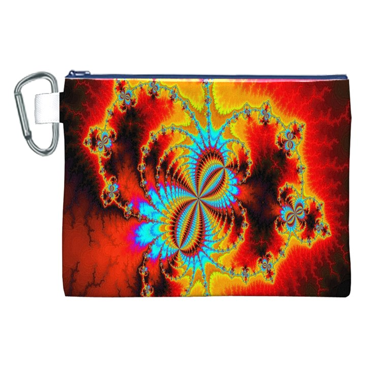 Crazy Mandelbrot Fractal Red Yellow Turquoise Canvas Cosmetic Bag (XXL)
