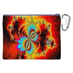 Crazy Mandelbrot Fractal Red Yellow Turquoise Canvas Cosmetic Bag (XXL) Back