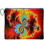 Crazy Mandelbrot Fractal Red Yellow Turquoise Canvas Cosmetic Bag (XXXL) Front