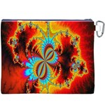 Crazy Mandelbrot Fractal Red Yellow Turquoise Canvas Cosmetic Bag (XXXL) Back