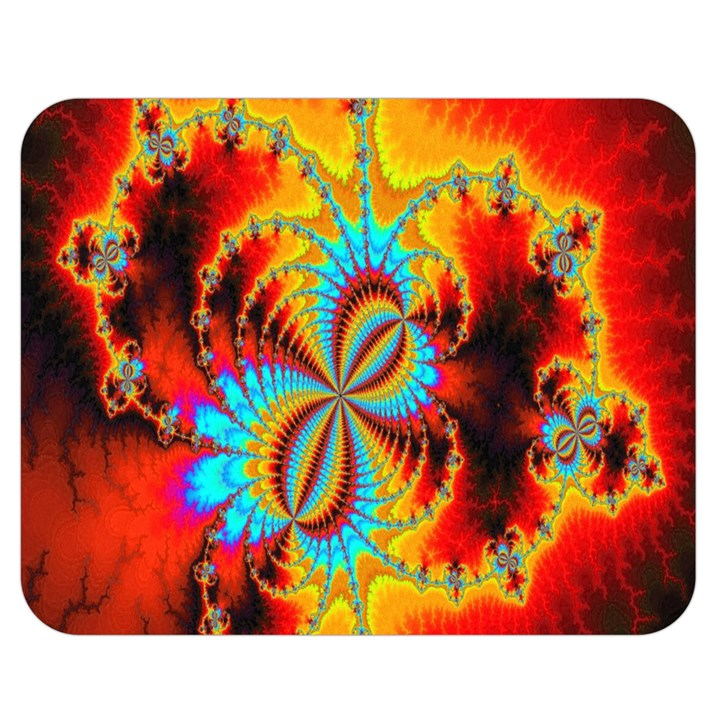 Crazy Mandelbrot Fractal Red Yellow Turquoise Double Sided Flano Blanket (Medium)