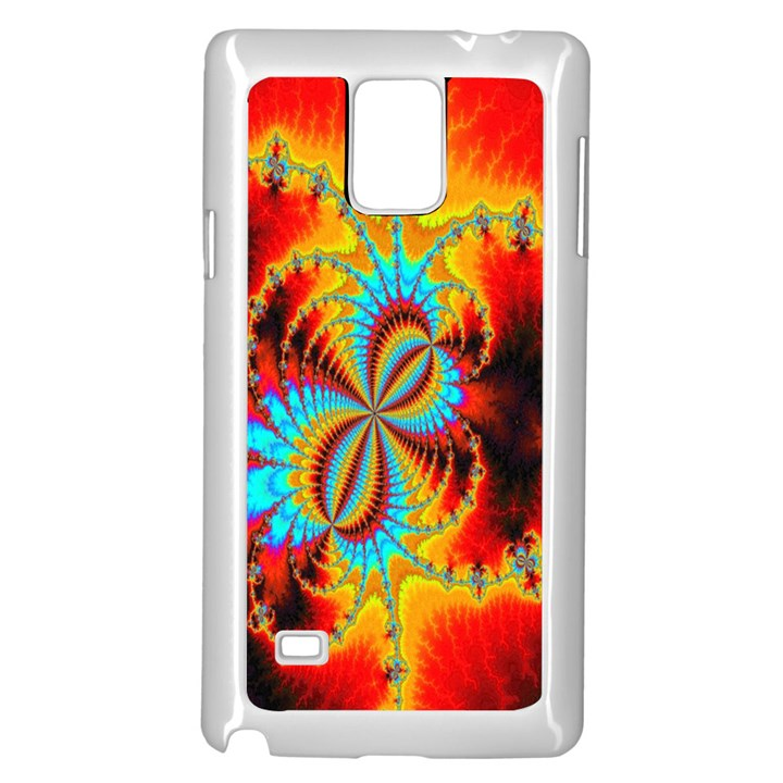 Crazy Mandelbrot Fractal Red Yellow Turquoise Samsung Galaxy Note 4 Case (White)