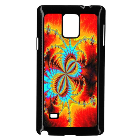 Crazy Mandelbrot Fractal Red Yellow Turquoise Samsung Galaxy Note 4 Case (Black)