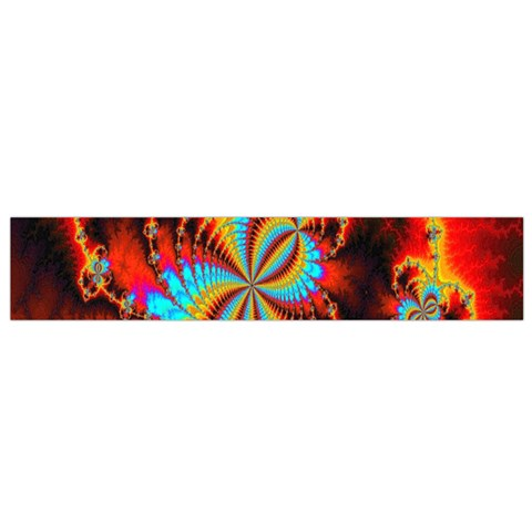 Crazy Mandelbrot Fractal Red Yellow Turquoise Flano Scarf (Small)
