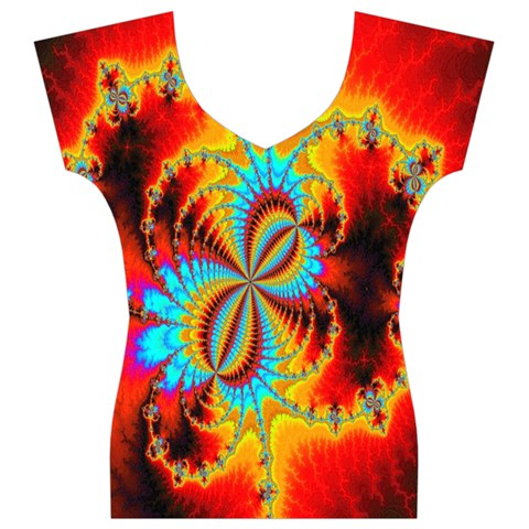 Crazy Mandelbrot Fractal Red Yellow Turquoise Women s V-Neck Cap Sleeve Top